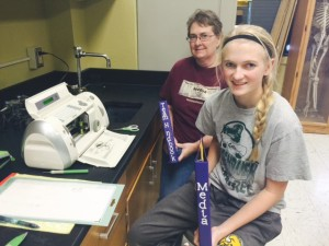 Emily Wicklund and her mom Annette worked to create labels for the many binders our team has.